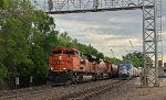 During our station stop in Minot (re-crew, re-fuel, smoking stop for passengers so inclined) BNSF sent a westbound freight train out ahead of us